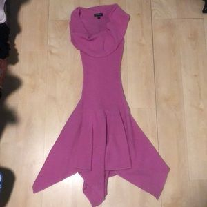 Pink cowl neck fitted dress